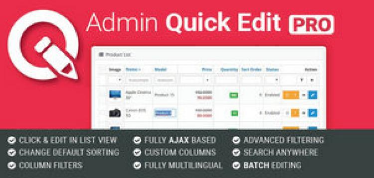 Item cover for download Admin Quick Edit PRO OpenCart