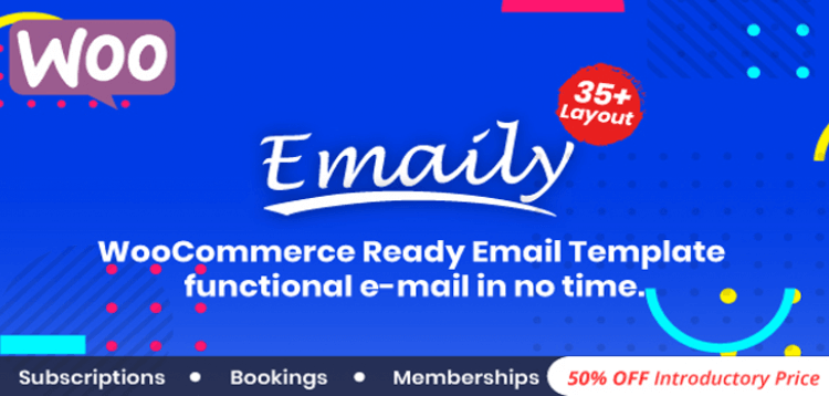 Item cover for download Emaily   WooCommerce Responsive Email Template + Subscriptions + Bookings + Memberships Compatible
