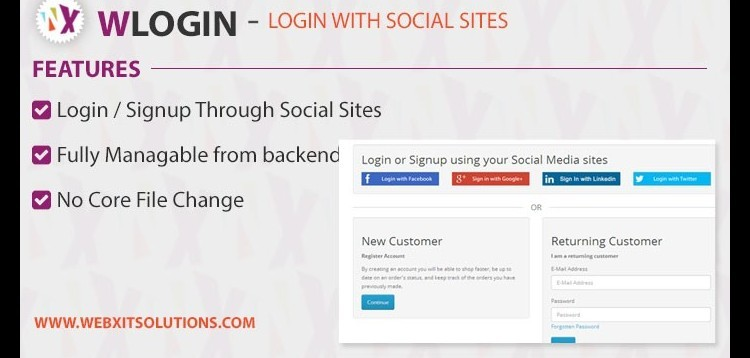 Item cover for download WLogin ( Login with Social sites ) for Opencart