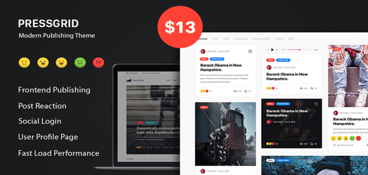 Item cover for download PressGrid - Frontend Publish Reaction  Multimedia Theme